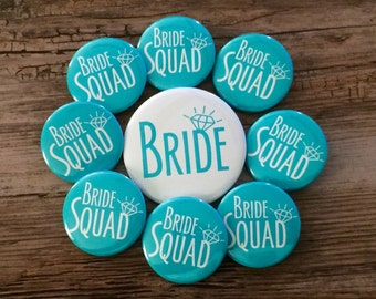Bride Squad, Turquoise Wedding, Bachelorette Pins, Hen Night Badges, Bride Button, Last Fling Party, Bright White, Classy Bridal Shower