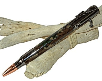 Bullet Bolt Action Pen with Rifle Clip Rustic Woodsy gift for Men Dad Grandpa Father Gift Idea  by CraftCrazy4U