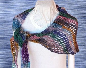 Easy to Crochet Scarf Pattern, Crochet Pattern, Crocheted Shawl Patterns, Crochet Pattern for Noro Yarn. Trellis Crochet Wrap Design