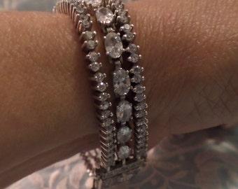 SALE Stunning Vintage DESIGNER CZ Sterling Silver .925 Multistrand Tennis  Bracelet