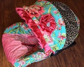 Ritzy Baby Love Bliss, Coral & Leopard Infant Car Seat Cover Set Including Strap Set