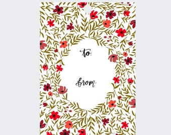 Gift Tags - Poppy Red and Olive Green Floral Print  - Set of 8