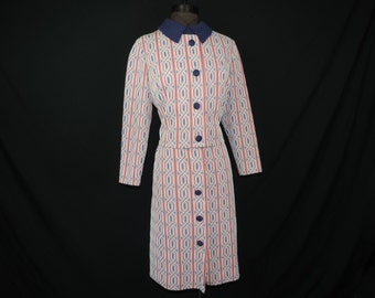 nautical mod dress 4th of July 60s red white and blue pattern patriotic dress set large