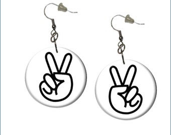 Peace Sign Earrings White Background Peace Symbol Earrings Black and White Earrings