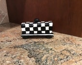 Ceramic clay black and white butter dish with stripes