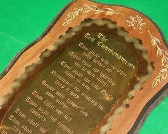 Vintage Bible Wood and Brass 10 Commandments Plaque
