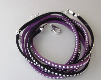 Pick COLOR / SIZE Triple  Boho Wrap - SILVER Studded Microfiber Faux Leather Suede W/ Silver Accent  Boho Bracelet /Anklet - Gift For Her 1