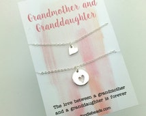 Grandmother Granddaughter Necklaces, 2 Small layering Silver or gold Heart Necklaces Tiny Heart & cut out heart choose carded or in gift box