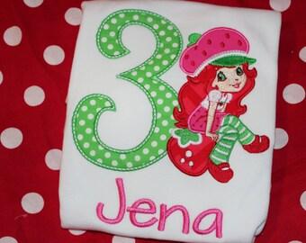 3rd birthday Strawberry girl birthday tshirt, or dress- any number