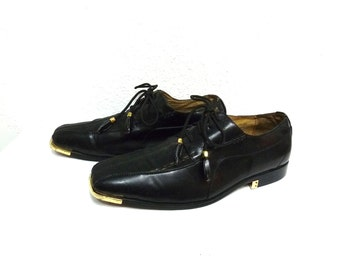 Vintage Shoes Harlem Knights Black Oxfords Loafers Men Size 10 1/2