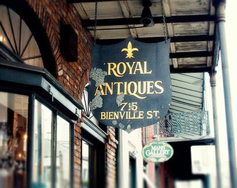 "New Orleans Photography, French Quarter ""Beinville Street"" Antique Street Sign Picture 8x10, 11x14, 16x20, 20x24, 24,30, 24x36, 30x40 Print."