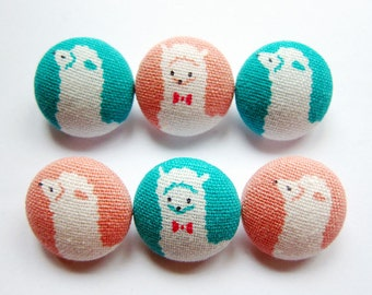 Sewing Buttons / Fabric Buttons - Llamas on Pink and Turquoise - 6 Medium Fabric Buttons - Fabric Covered Buttons