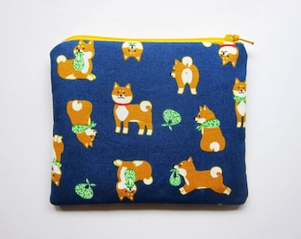 Zipper Pouch - Shiba Inu on Blue - Available in Small / Large / Long
