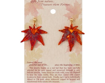 Real Japanese Maple Leaf Dipped In Iridescent Copper Post Dangle Earrings - Real Dipped Leaves - On Card