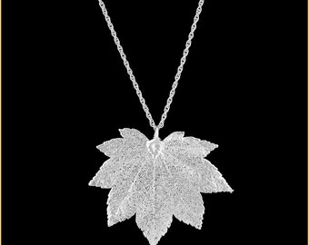 Real Full Moon Maple Leaf Dipped In Silver Pendant - Real Dipped Leaf - In Gift Box