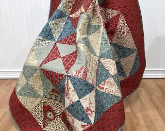 """Throw Quilt French General Bon Voyage HANDMADE Patchwork Quilt Moda Red, Teal, Cream, Pearl, 57 X 67"""""""