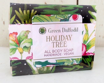 Holiday Tree  Bar of Soap - Green Daffodil - Christmas