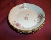 GDA Limoges  France  China 5 berry bowls plates  Antique   pink roses gold trim  Half Price Sale Shabby Chic