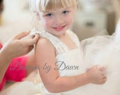 Ivory Champagne Flower Girl dress with lace & train! Mini bride dress. Vintage dress. More colors. Size 6m-10 Girls.