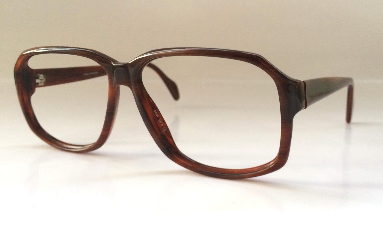 80s Vintage German Metzler Wood Pattern D-Frame Eyeglasses