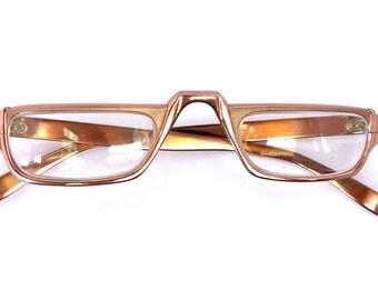 Vintage Reader Eyeglasses // Unisex 1950's/1960's  //Rose Gold Colour //#M75