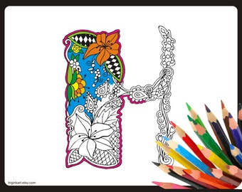 """Letter """"H"""" Lilly style alphabet  Adult coloring page"""