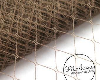 "Vintage 12"" (30cm) Wide Mocha Brown Veiling for Wedding Birdcage Veils & Fascinator Millinery - 1 Metre"