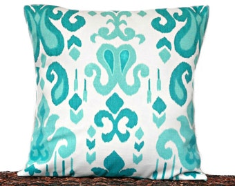 Turquoise Ikat Pillow Cover Cushion Teal White Decorative 16x16