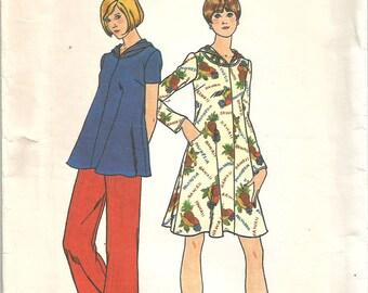 Vintage 1970s Maternity Pattern Dress Blouse Pants UNCUT FF S XS 32 1/2 bust Butterick 4034 70s 70's Hood Hooded