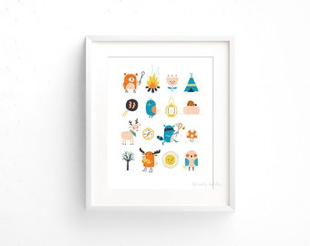 Let's Go Camping! - Giclee of an original illustration (8 x 10in)