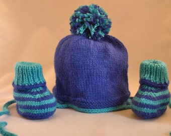 Hand Knit Baby Hat with Matching Booties Size 3-6 months Handmade Blue and Turquoise