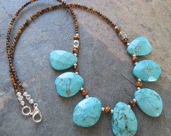 Tiger Eye & Turquoise Necklace ~ Turquoise Magnesite ~ Bohemian Style Jewelry