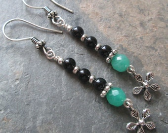 Agate & Jade Earrings with Flower Charms ~ Zen style jewelry