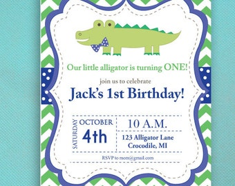Alligator Birthday Invitations, Boy, Navy Blue, Green, PRINTED Invitations
