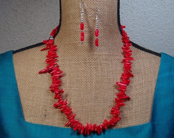 AAA  Red Coral Stem Slices,.925 Silver Necklace and Earrings