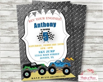 MONSTER TRUCK Birthday Invitation - Truck Invitation - Monster Truck Invitation - Truck Invite - Monster Truck Party Supplies - PERSONALIZED