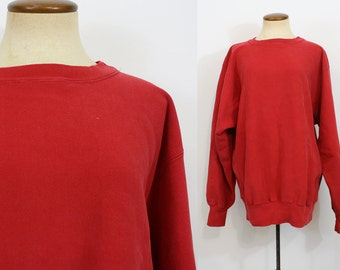 1980s Sweatshirt Champion REVERSE WEAVE Warm Up Slouchy Boyfriend Sweater Red Oversized Pullover Oversize Cozy Vintage 80s Slouch Large L XL