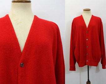 Mr Rogers Sweater Red Grandpa Cardigan 1970s Oversize Button Front Vintage 70s Slouchy V Neck Preppy Retro Slouch Long Sleeve Large L Men's