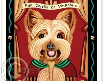 8x10 Yorkie Art - Patron Saint of Perpetual Treats - Art print by Krista Brooks
