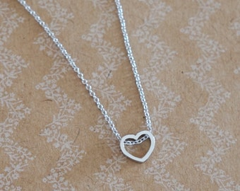 Petite Silver Heart Necklace -  Chic, dainty, love, rhodium plated silver jewelry, Best friend, Sisters, bridesmaid necklace gifts