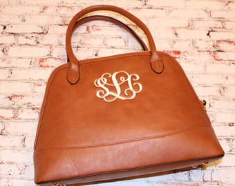 Adorable Leather like Tote bag. Personalized Monogram Purse. Camel Black Dark Sea Green. Monogram Embroidered Personalized