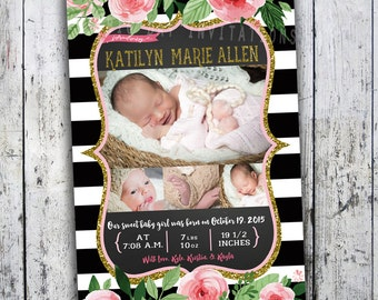 Pink Black white Baby Girl Birth Announcement - Photo Birth Announcement - Floral and Stripes Card - Fast Turnaround - Printing available