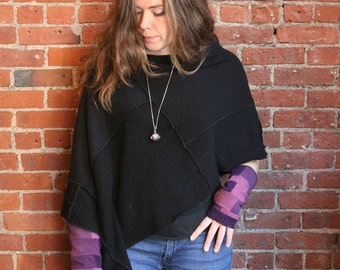 100 percent cashmere poncho- cape-  recycled sweater- upcyled sweater- cashmere poncho-cape capulet- fall fashion-eco clothing one size