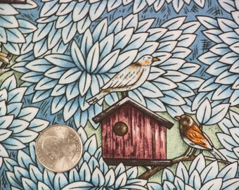 Birdhouse Fabric with Birds-Blues/Greens/Browns-Quilts-Aprons-Curtains-Home Decor-Tote Bags