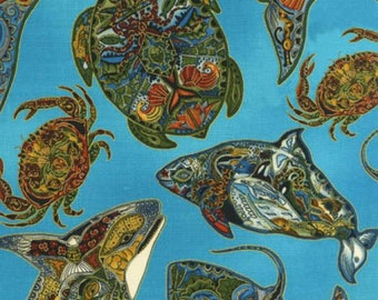 Robert Kaufman - Animal Spirits - Earth Sealife Metallic - Fabric by the Yard AUAM11919169