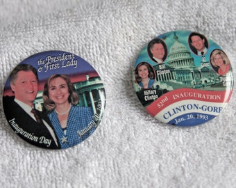 2 Vintage Hillary Clinton political buttons/pins/pinbacks - 52nd Inauguration Day 1993 - genuine, not reproductions