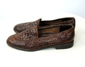 Woven leather shoes Amalfi Made in Italy brown leather Size 8