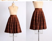 45% OFF SALE.... vintage 1950s skirt • 50s felt skirt • aztec • copper color