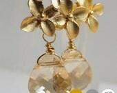 Triple Flower Gemstone Earrings- Matte Gold Flower Earrings- Matte Silver Flower Earrings- Bridesmaid Earrings- Swarovski Crystal- EGS-FL5