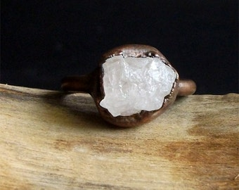 Morganite Ring, Copper Gemstone Ring, Raw Crystal Ring, Beryl Ring, Ring Size 5.5, Copper Morganite Ring, Crystal Ring
